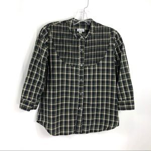 Steven Alan Pintuck Blue Plaid Button 3/4 Sleeve M